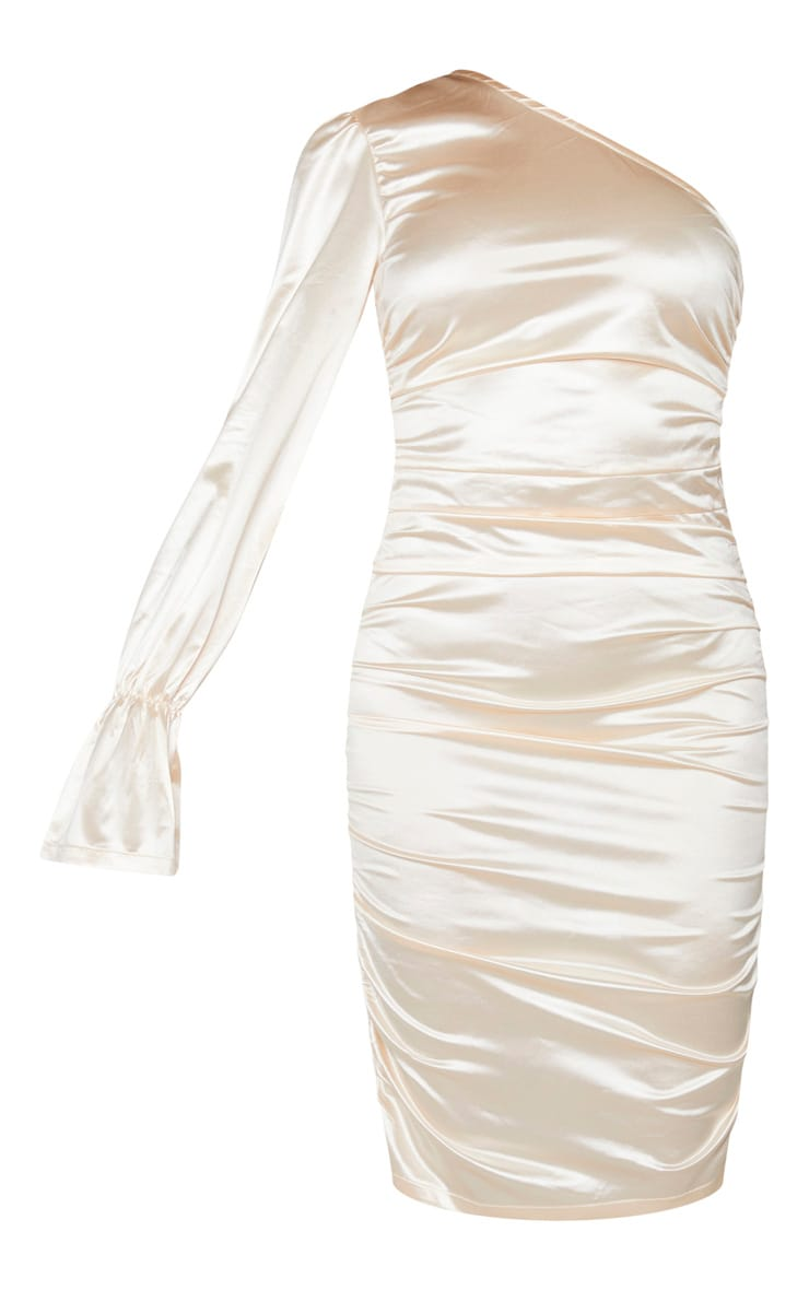 Tall Champagne One Shoulder Satin Ruched Side Midi Dress 5