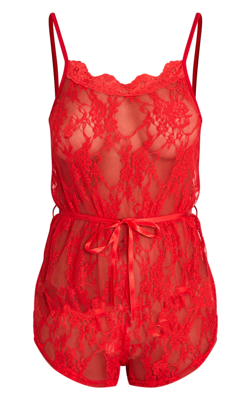 Sanny tenue de nuit pyjashort en dentelle rouge 3