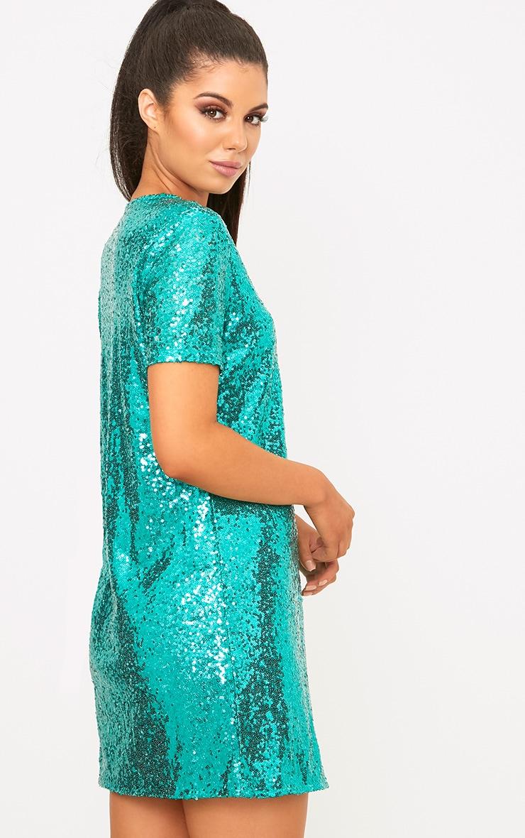 Tanaya Green Short Sleeve Sequin T Shirt Dress