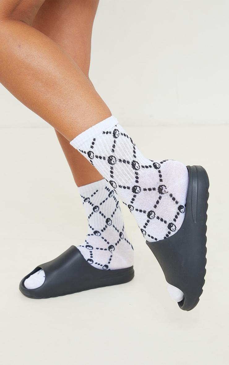 Black Multi Ying Yang Ankle Socks 1