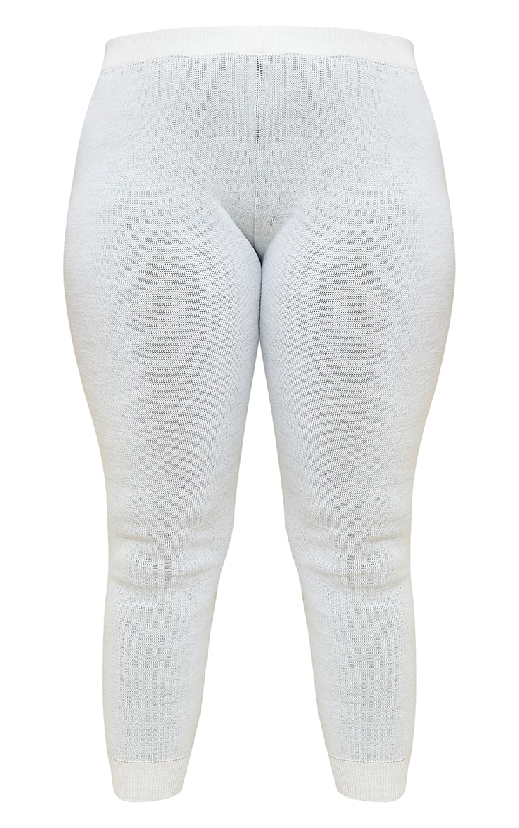 PRETTYLITTLETHING Plus Cream Knitted Joggers 5