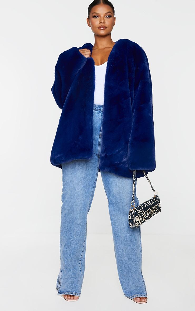 Plus Blue Faux Fur Coat 1