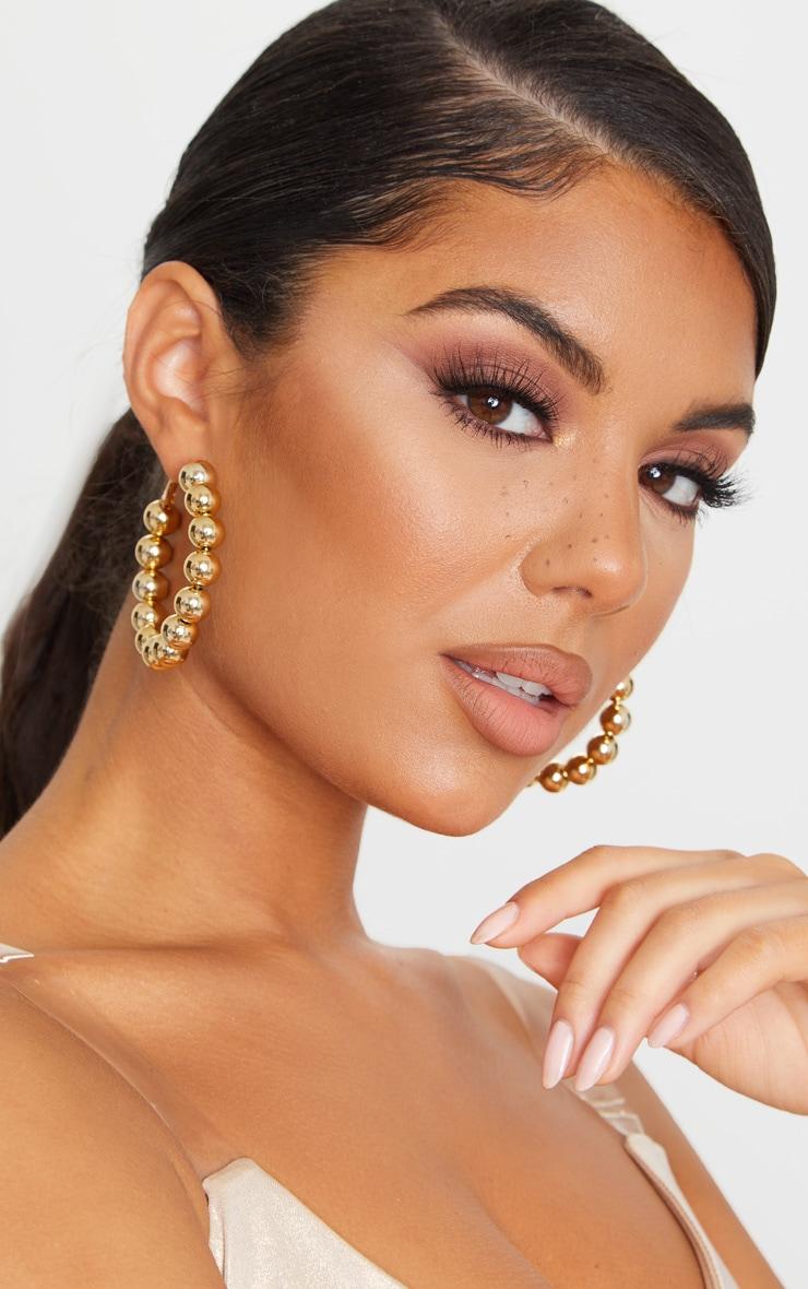 Gold Beaded Hoop Earrings 1
