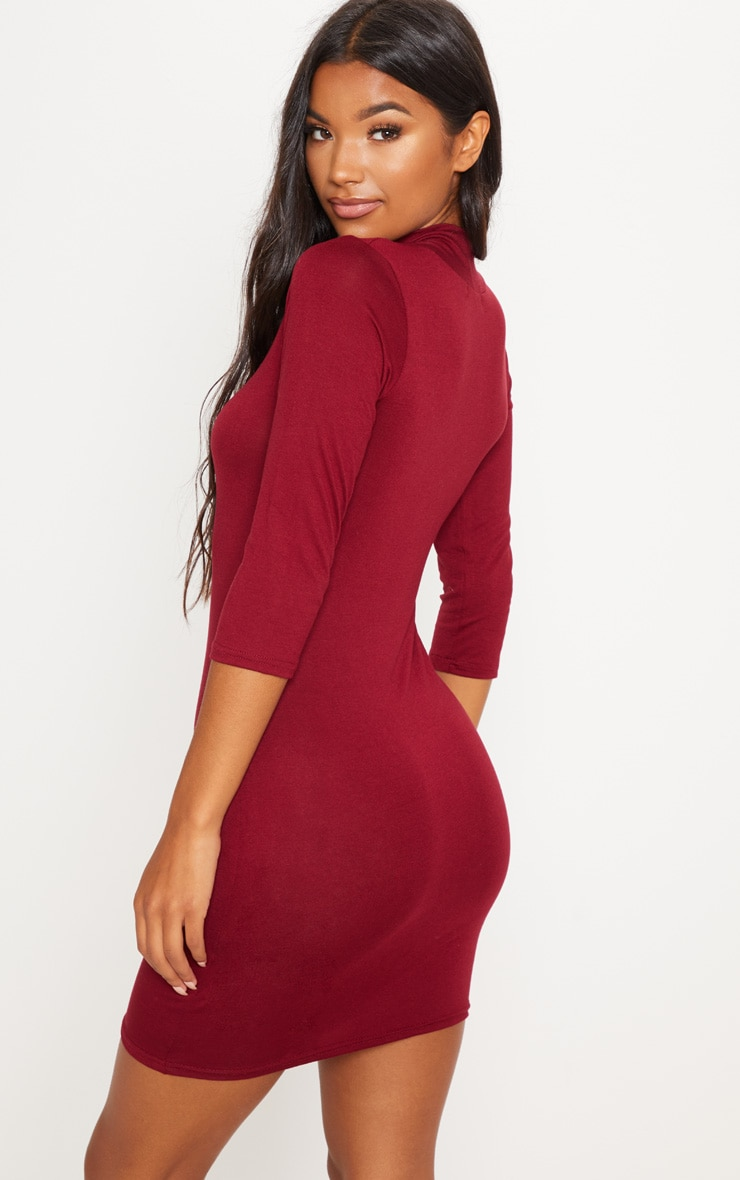 Basic Burgundy High Neck Jersey Mini Dress 2