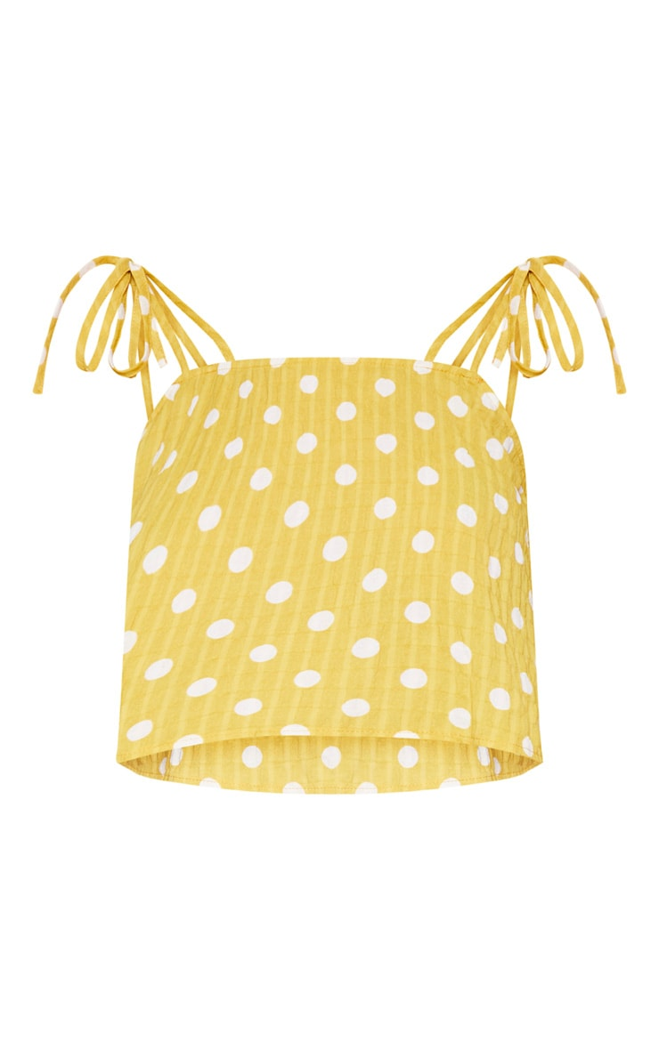 Mustard Cheesecloth Polka Dot Crop Top 4