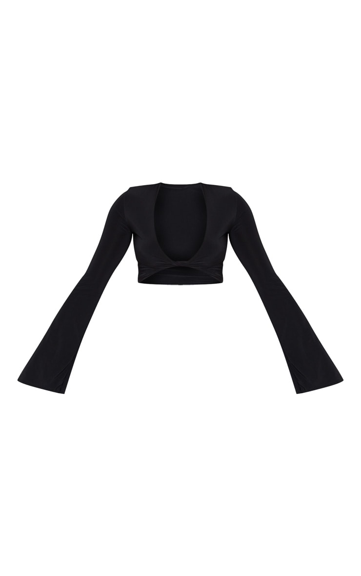 Black Slinky Twist Front Flute Sleeve Blouse 3