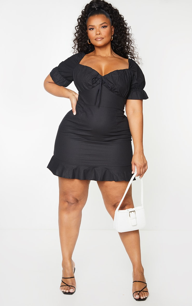 Plus Black Woven Puff Sleeve Frill Hem Tea Dress 1