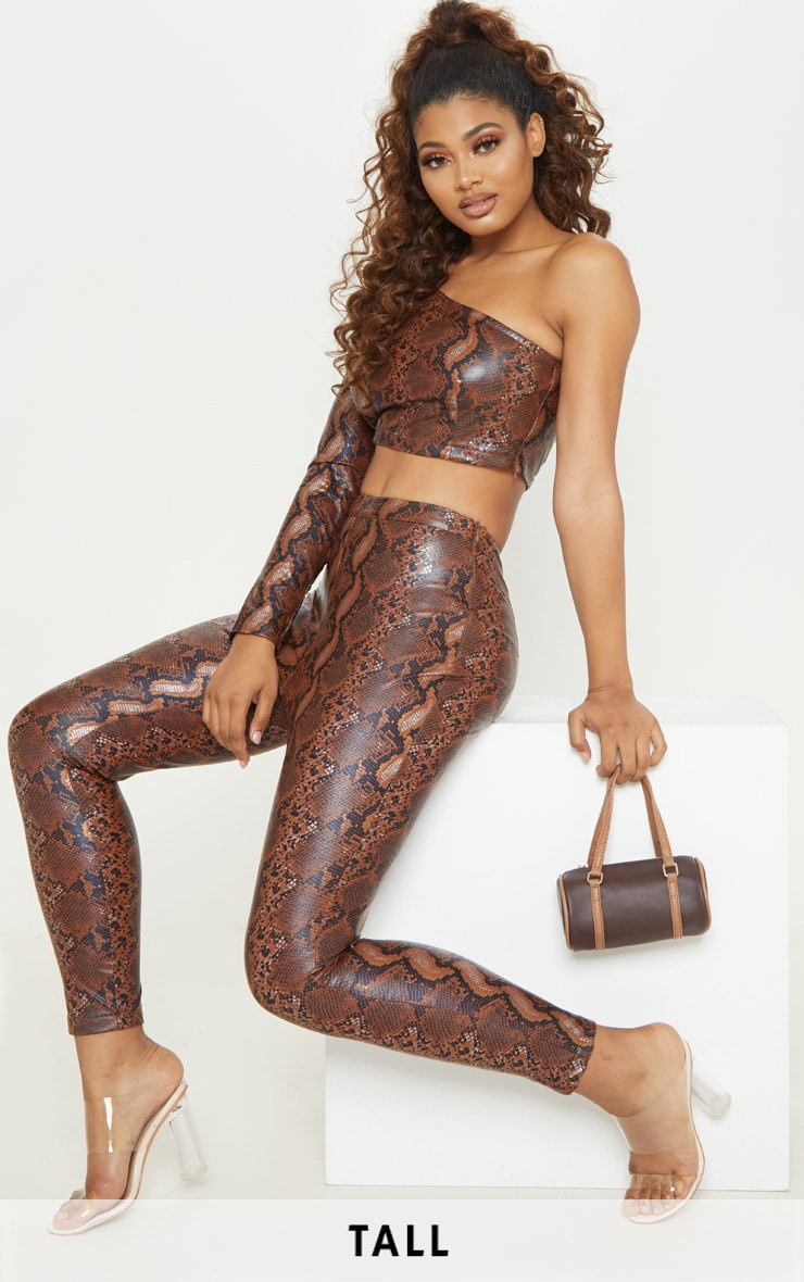 88442375184 Tall Brown Pu Snake One Shoulder Top | Tall | PrettyLittleThing USA