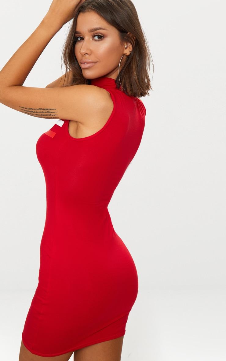Lamour Red Sleeveless Bodycon Dress 2