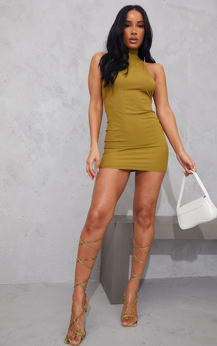Olive Ribbed High Neck Extreme Open Back Bodycon Dress 3