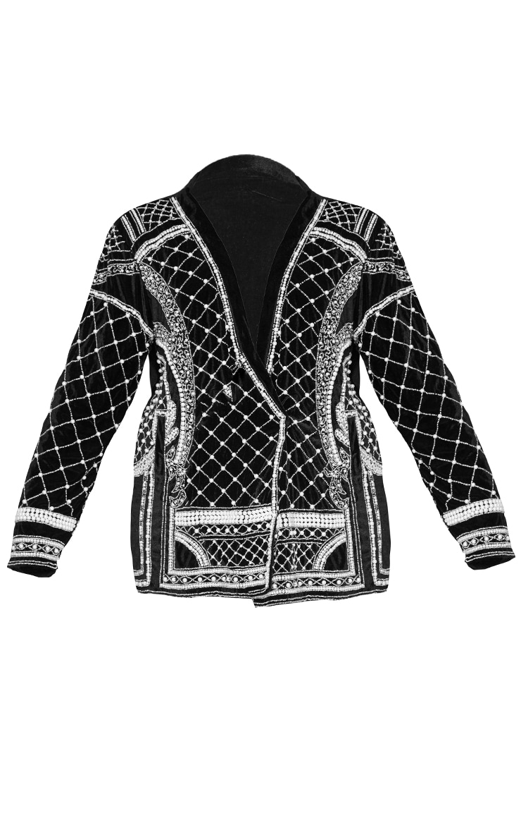 Plus Premium Black Velvet Embellished Beaded Oversized Blazer 5