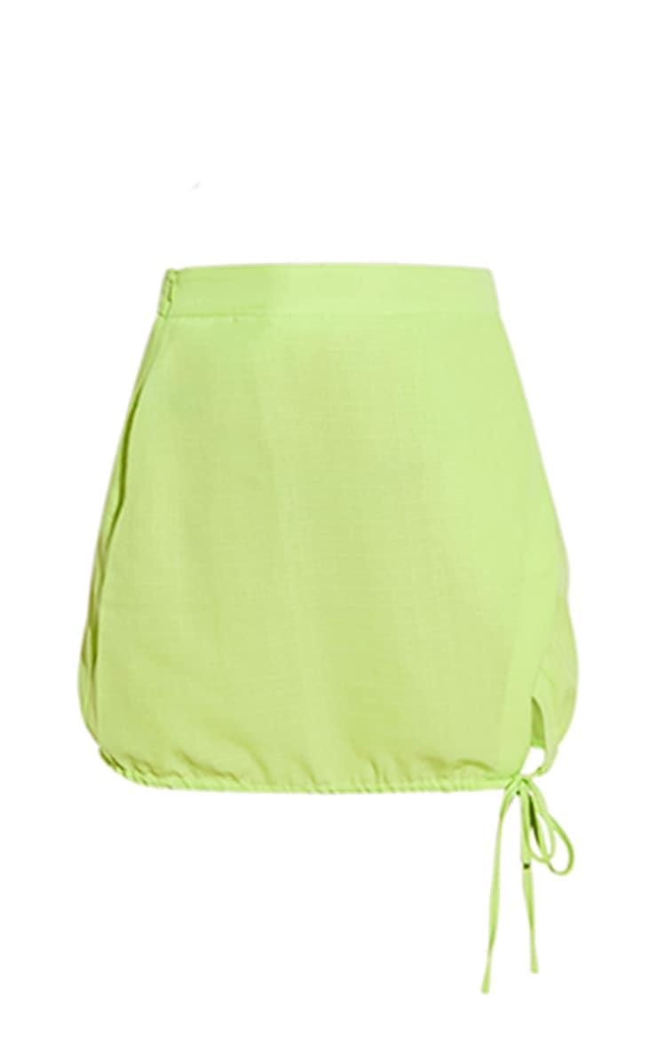 Lime Ruched Side Split Skirt 6