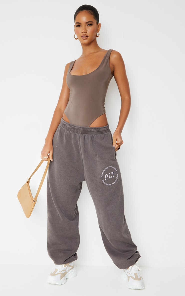 Brown Washed Health Club Embroidered Casual Joggers 1