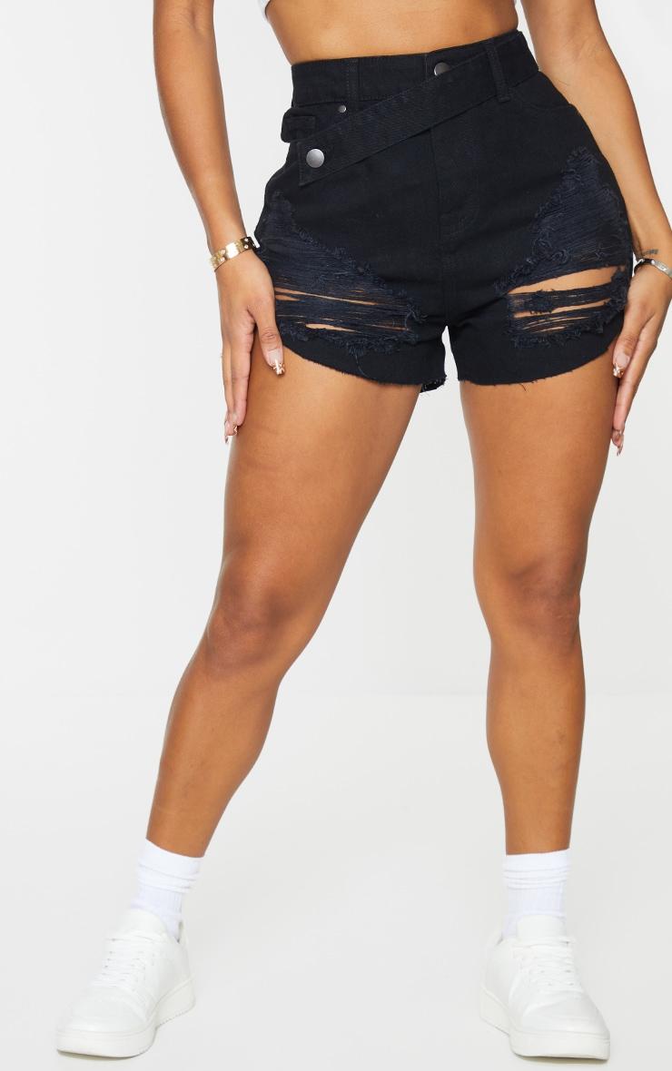 Shape Black Denim Super Ripped Denim Shorts 2