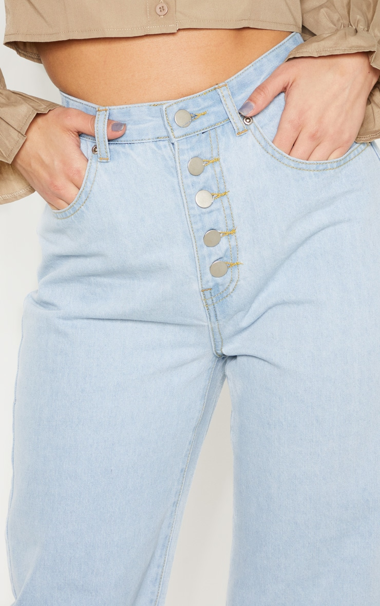 Light Wash Button Through Wide Leg Cropped Jean 4