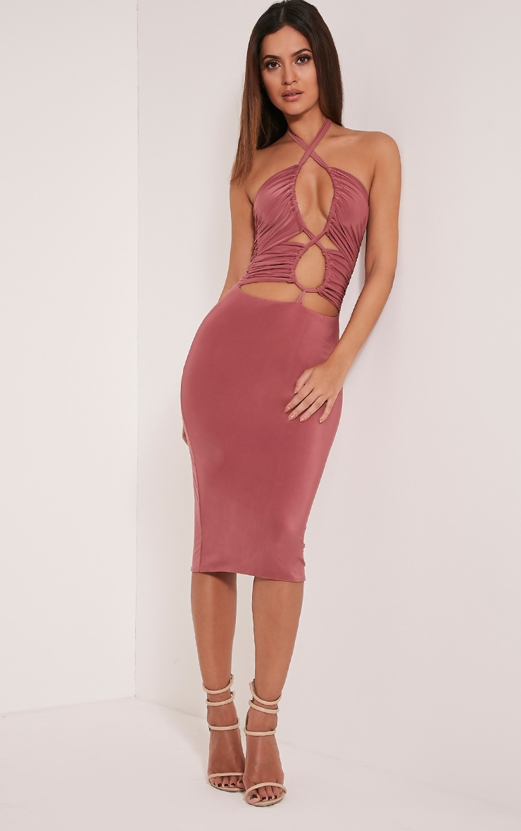 Meeka Rose Ruched Halterneck Cut Out Midi Dress 1
