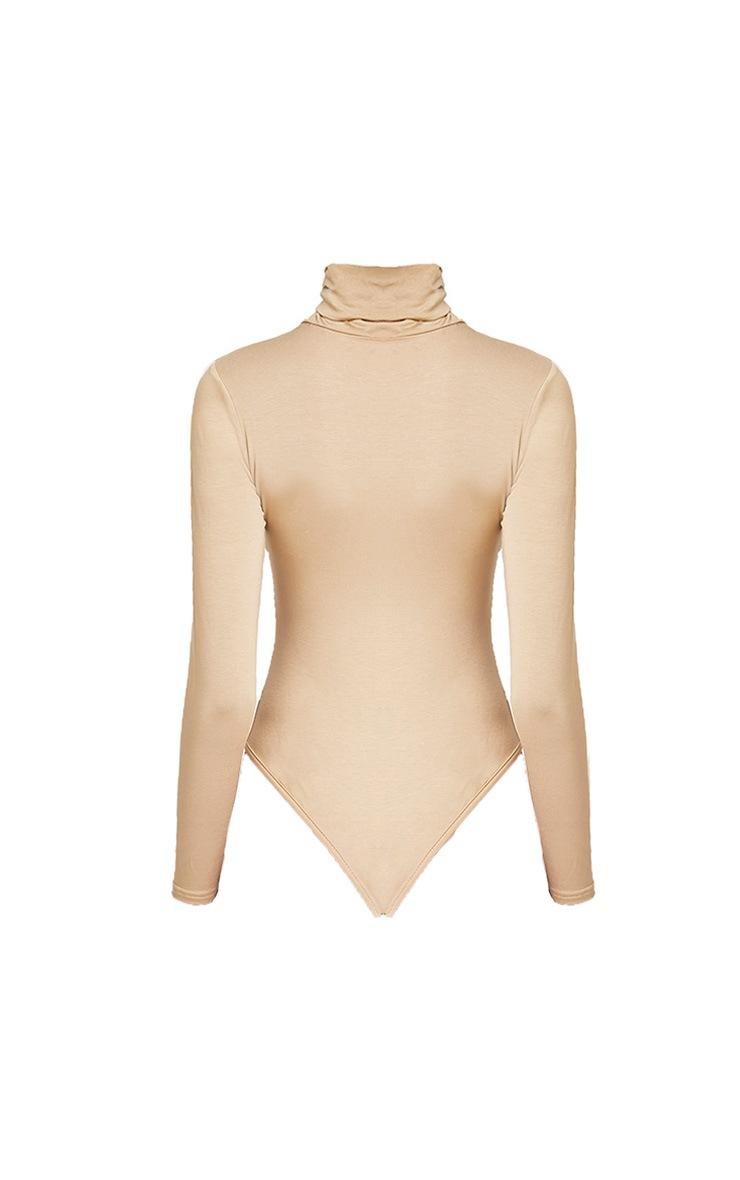 Basic body-string à col roulé kaki clair 2