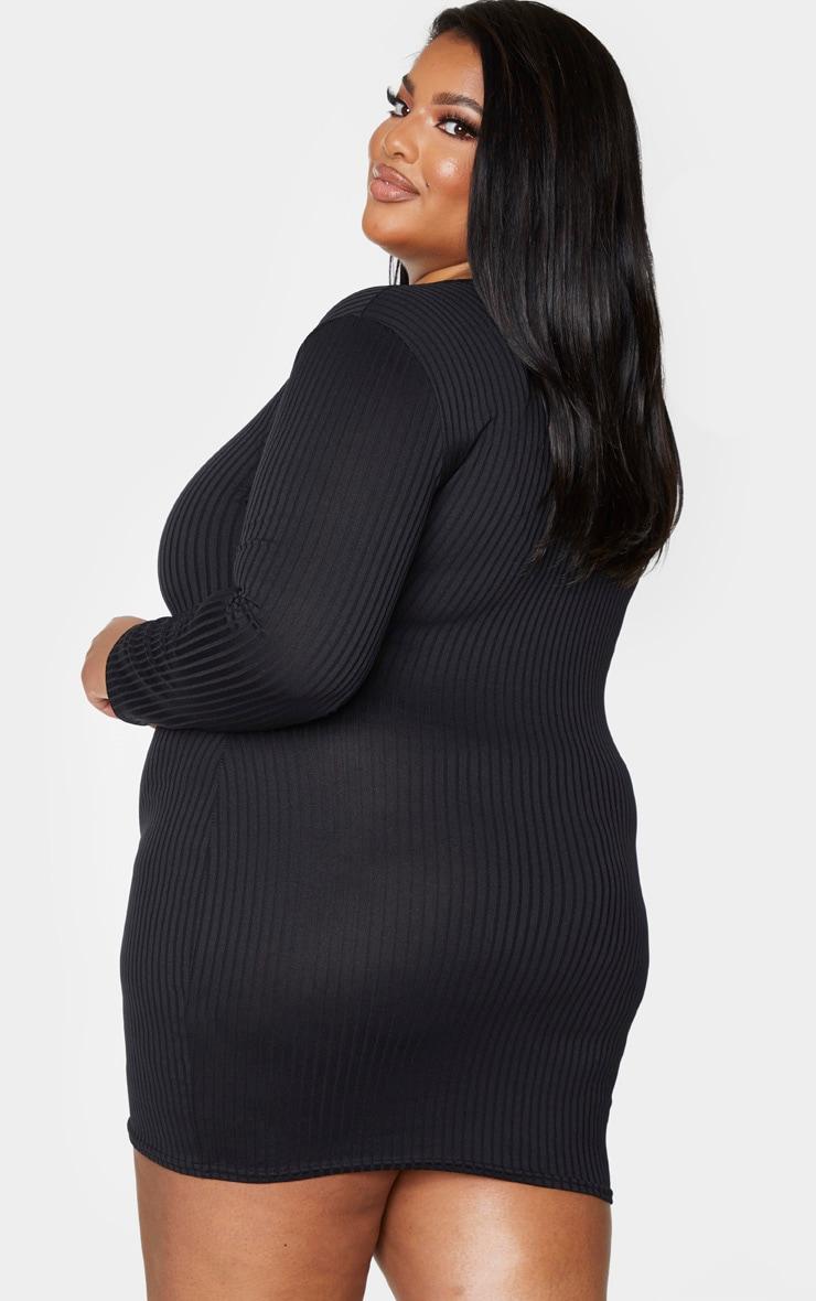 Plus Black Ribbed Plunge Long Sleeve Bodycon Dress 2