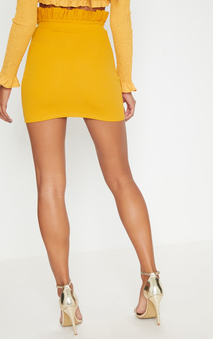 Mustard Gathered Waist Detail Mini Skirt  4