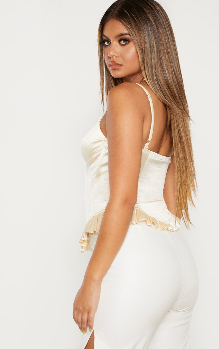 Cream Satin Strappy Frilled Hem Bodice  2