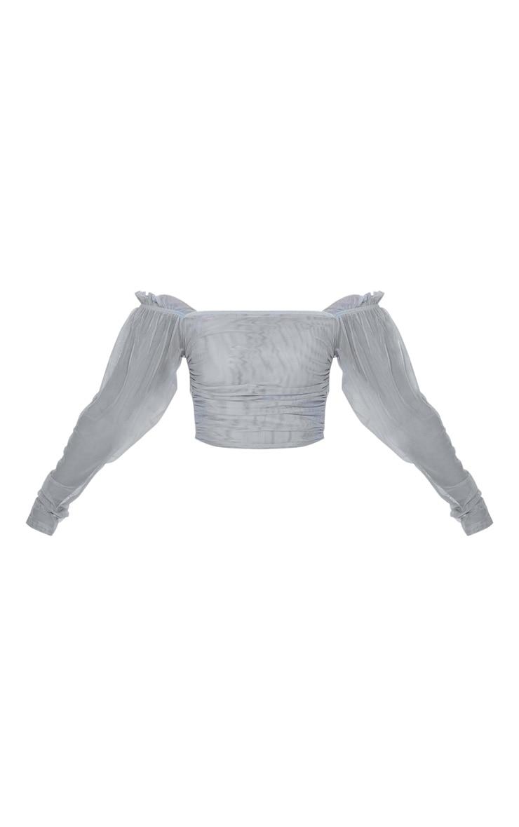 Petite Grey Long Sleeve Mesh Ruched Detail Crop Top 3