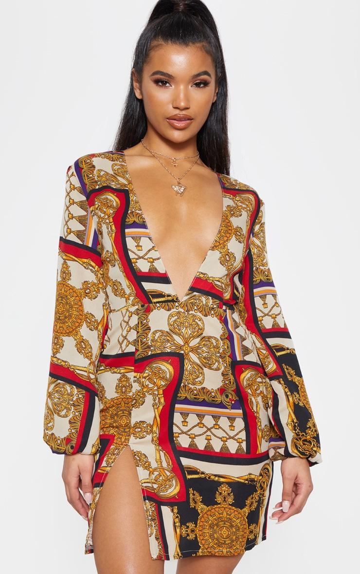 Multi Satin Chain Print Bodycon Dress 1