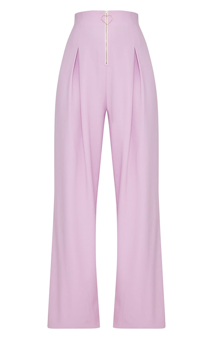 Lilac High Waisted Heart Zip Wide Leg Pants 4