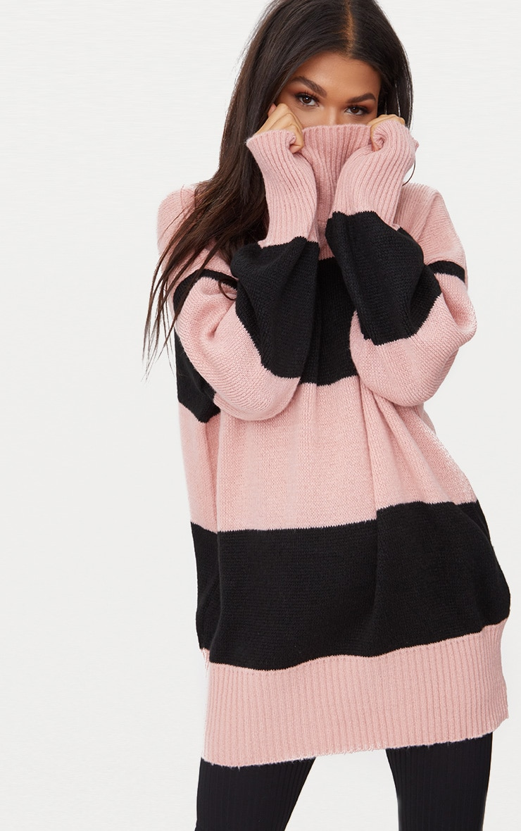Rose Stripe Oversized Knitted Jumper 1