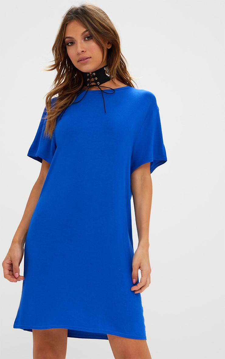 Basic Cobalt Short Sleeve T Shirt Dress 1