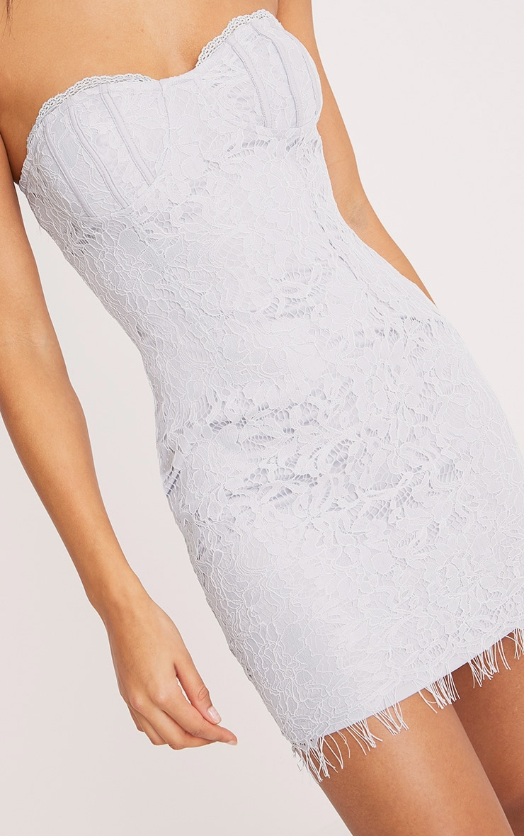 Kreena Grey Lace Bandeau Bodycon Dress 5