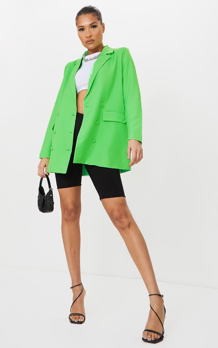 Bright Green Oversized Double Breasted Covered Button Blazer 1
