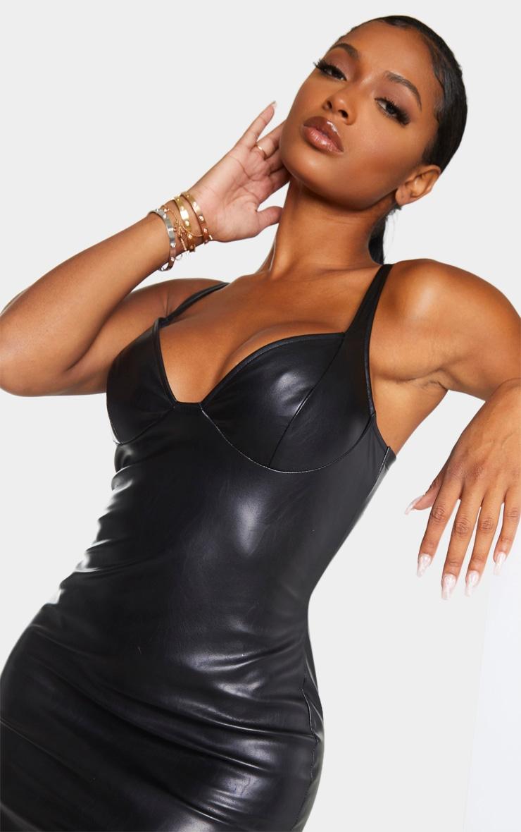 Shape Black PU High Split Maxi Dress 4