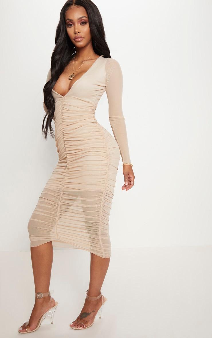 Shape Nude Ruched Mesh Longline Midi Dress 4