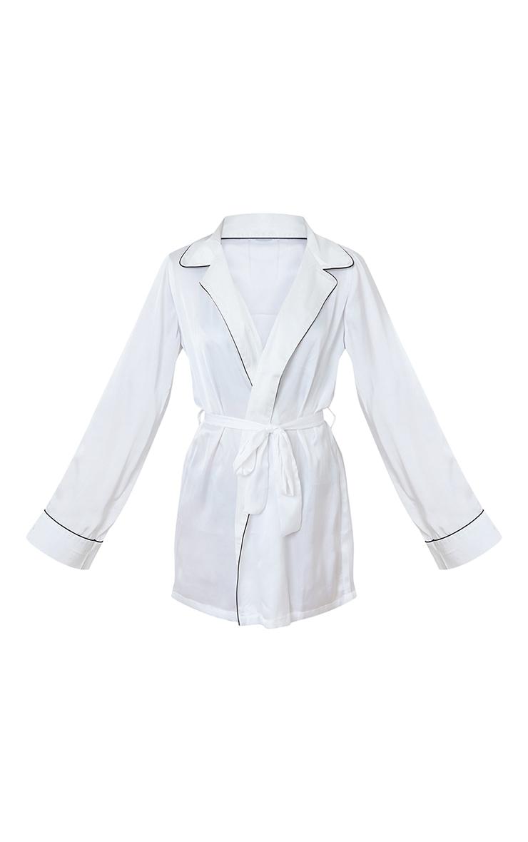 White Satin Piped Robe 4