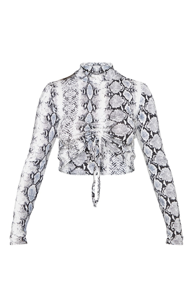 Snake Print Jersey High Neck Ruched Front Crop Top 3