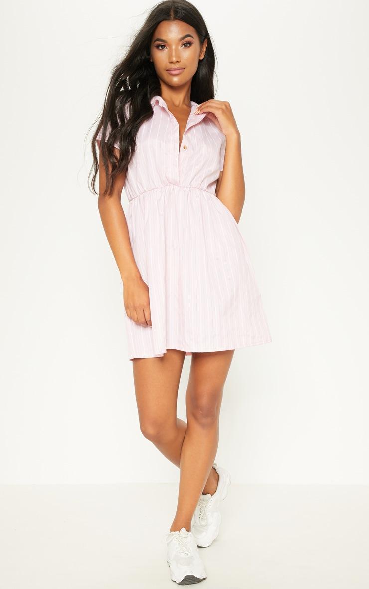 Pastel Pink Stripe Button Detail Skater Dress 4