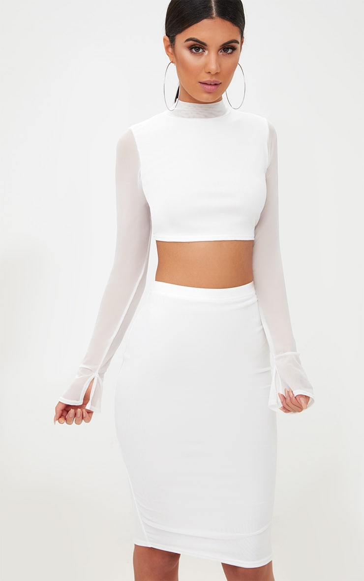 White Mesh High Neck Longsleeve Crop Top