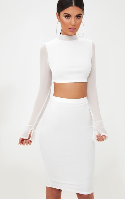 570152d8b3 White Mesh High Neck Longsleeve Crop Top