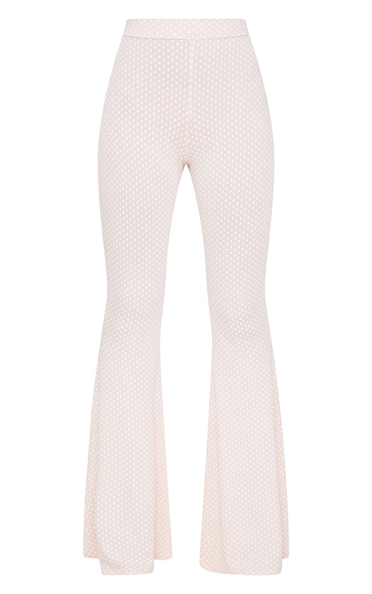 Pink Polka Dot Flared Leg Trousers 3