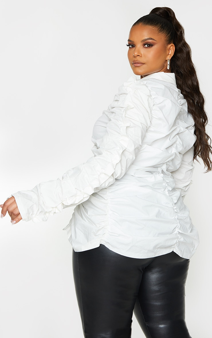 Plus White Ruched Fitted Shirt 3