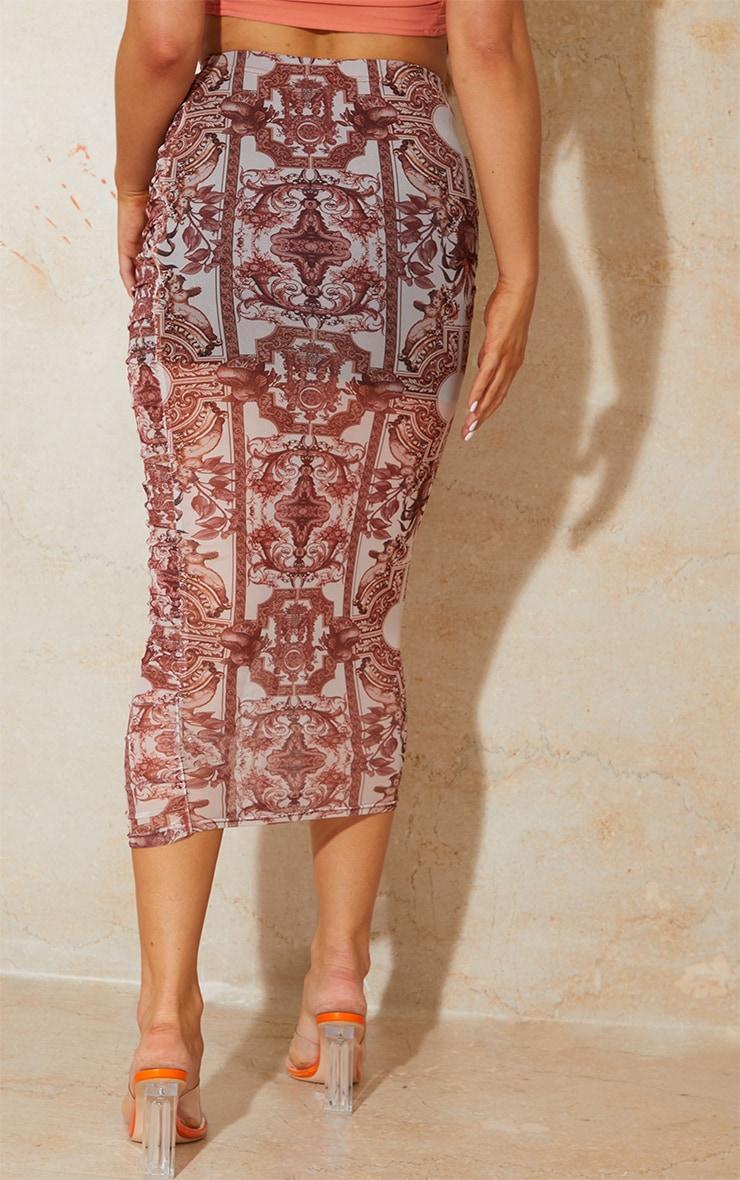 Renaissance Print Mesh Ruched Overlay Maxi Skirt 3