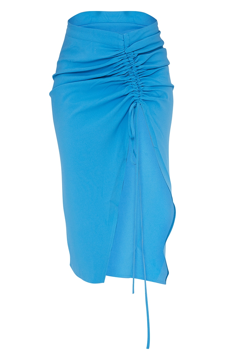 Blue Ruched Woven Detail Midi Skirt 5