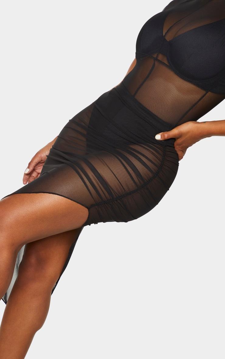 Shape Black Mesh High Waist Ruched Side Midi Skirt 4