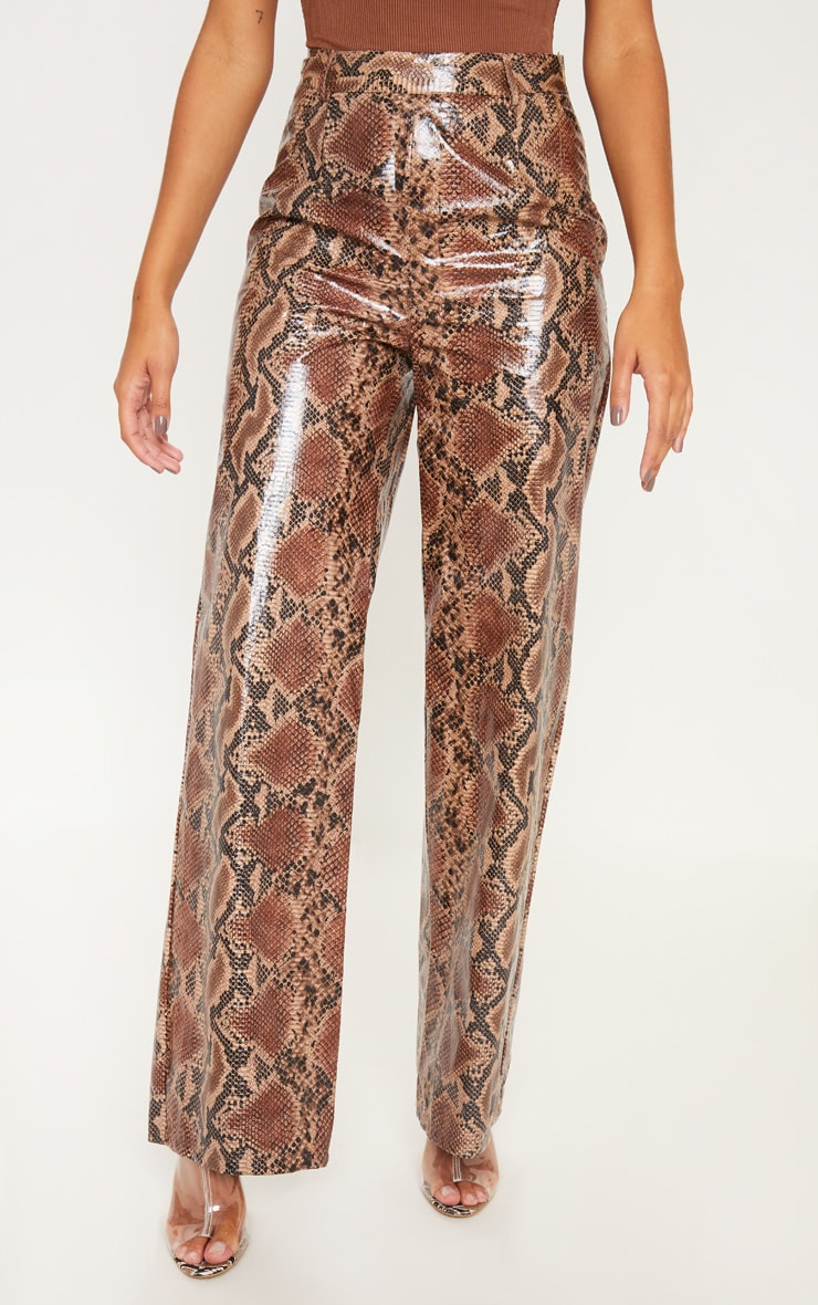 Tan Faux Leather Snakeskin Wide Leg Pants 2