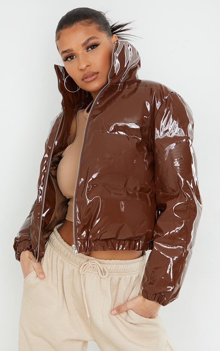 Chocolate Cropped Vinyl Puffer Jacket 3