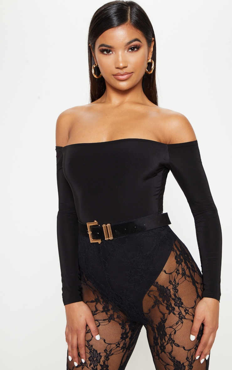 Black Slinky Bardot Long Sleeve Bodysuit by Prettylittlething