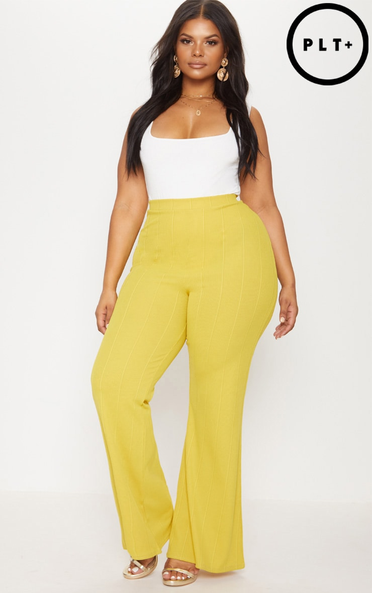 Plus Chartreuse Bandage Wide Leg Trousers