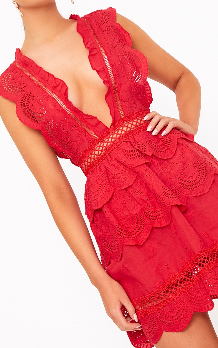 Red Crochet Lace Plunge Swing Dress 3