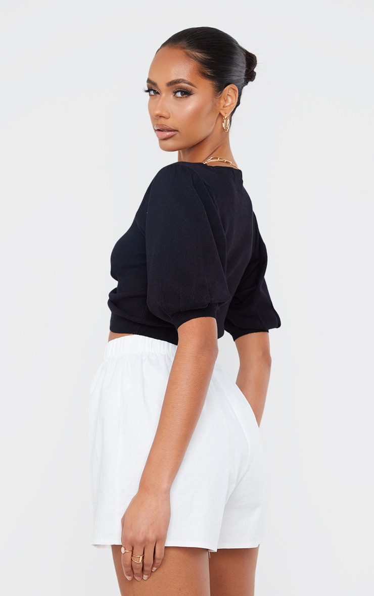 Black Ruched Knitted Puff Sleeve Top 2