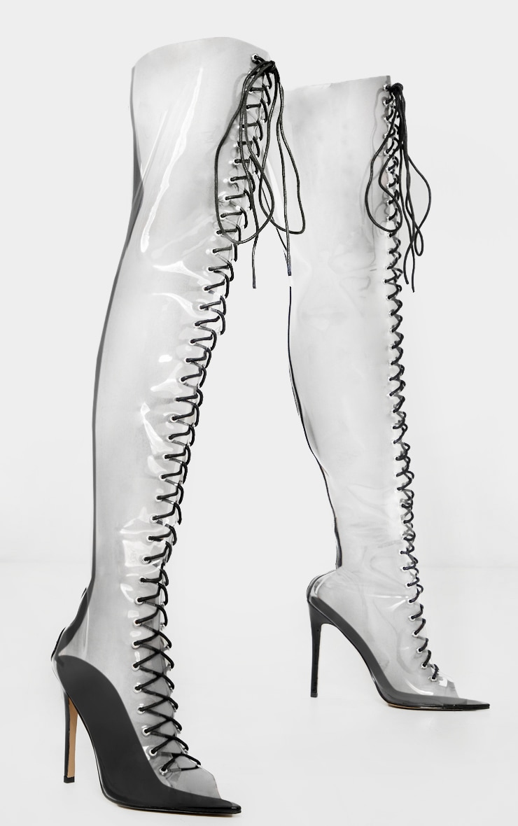 Clear Lace Up Thigh High Boots 4